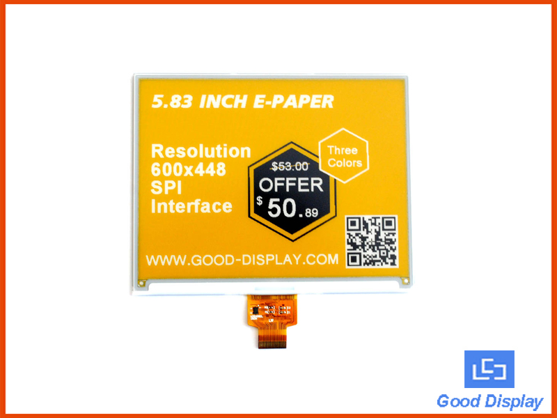 5.83 inch e-paper display| black white and yellow| GDEW0583C64