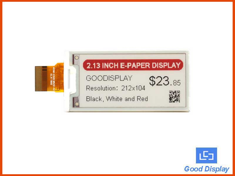 2.13 inch black,white and red e-paper display, three colors, e-ink, GDEH0213Z98