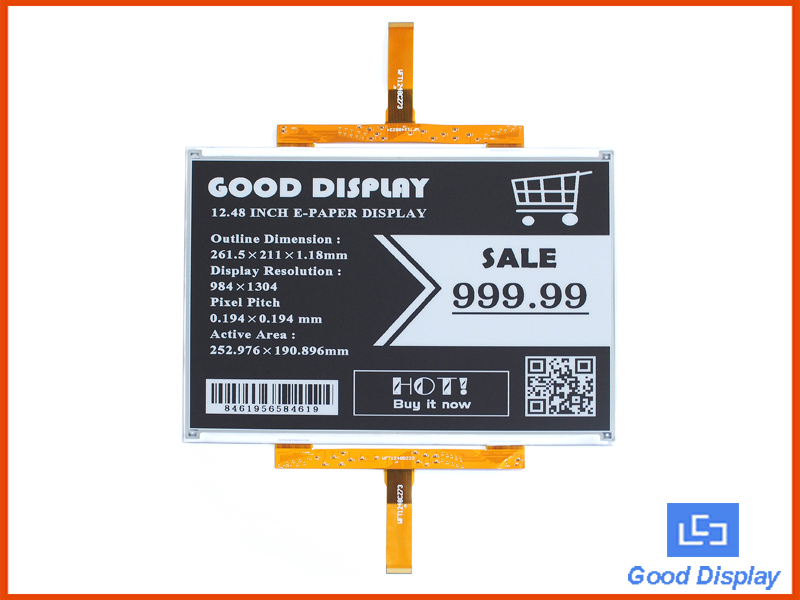 12.48 inch large e-ink display, 4 Grayscale big e-paper screen, GDEW1248T3