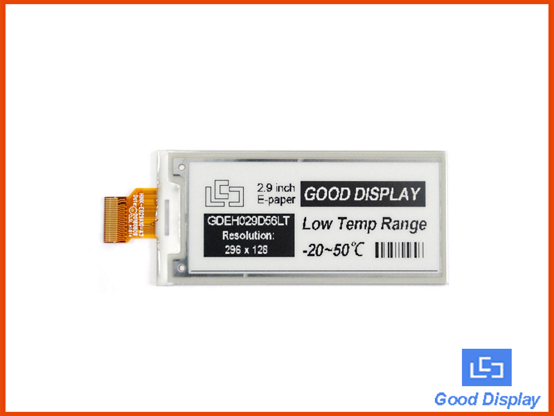 2.9 inch e-paper display ultra low temperature-20℃ electronic paper screen GDEH029D56LT